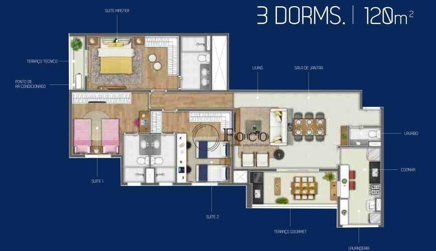apartamento com 3 dormitórios à venda, 120 m² por r$ 910.415 - empresarial 18 do forte - barueri/sp - ap0862