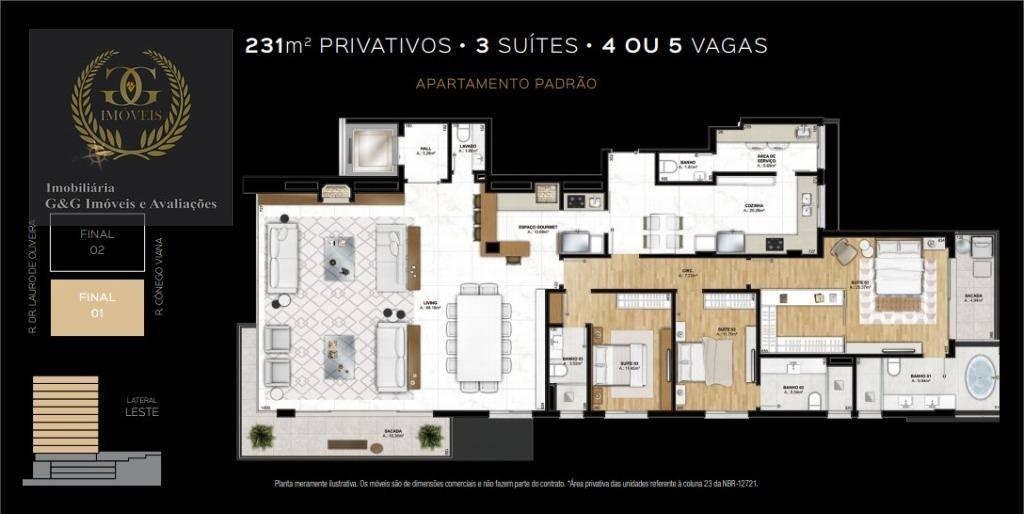 apartamento com 3 dormitórios à venda, 211 m² por r$ 2.923.500,00 - rio branco - porto alegre/rs - ap0137