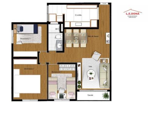 apartamento com 3 dormitórios à venda, 62 m² por r$ 300.000 - jaguaré - são paulo/sp - ap1959