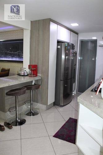 apartamento com 3 dormitórios à venda, 90 m² por r$ 580.000 - acampamento anchieta (blocos c e d) - santo andré/sp - ap8582