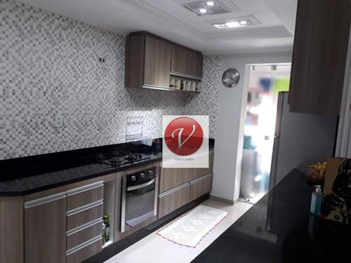 apartamento com 3 dormitórios à venda, 90 m² por r$ 583.000 - vila pires - santo andré/sp - ap9107