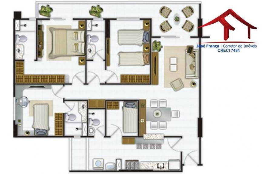 apartamento com 3 dormitórios à venda, 94 m² por r$ 582.500,00 - de lourdes - fortaleza/ce - ap0123