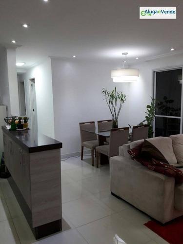 apartamento com 3 dormitórios à venda ou locação no condomínio fatto quality, 82 m² por r$ 460.000 - vila augusta - guarulhos/sp - ap0078