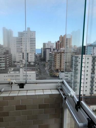 apartamento com 3 dormitórios à venda por r$ 513.240 - vila guilhermina - praia grande/sp - ap0005