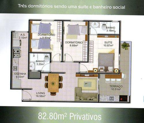 apartamento com 3 dorms, mirim, praia grande - r$ 373.000,00, 82,8m² - codigo: 412617 - v412617