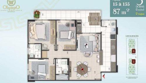 apartamento com 3 dorms, ocian, praia grande - r$ 390.000,00, 87m² - codigo: 413165 - v413165