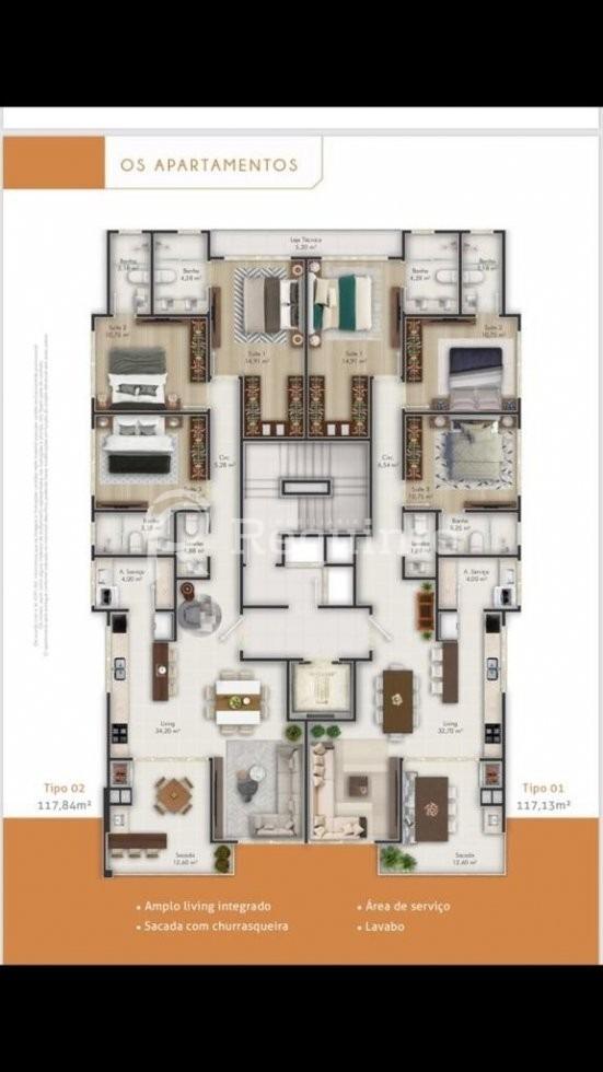 apartamento com 3 suítes mobiliado em itapema  - 1834