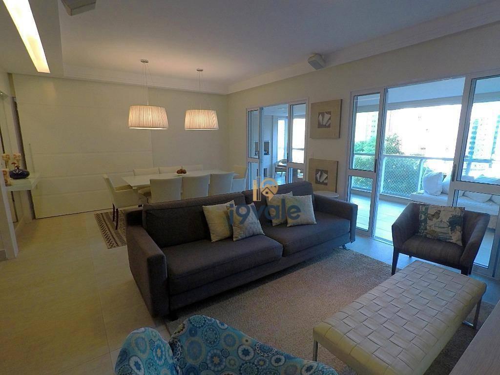 apartamento com 4 dorm., 4 vagas à venda, 192 m² - central park sol da manhã em frente praça jardim aquarius - sjcampos/sp - ap1787