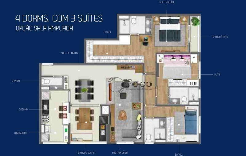 apartamento com 4 dormitórios à venda, 120 m² por r$ 953.298 - empresarial 18 do forte - barueri/sp - ap0867