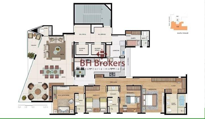 apartamento com 4 quartos para comprar no sion em belo horizonte/mg - 13171