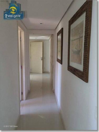 apartamento com varanda gourmet à venda, jardim, santo andré. - ap7089