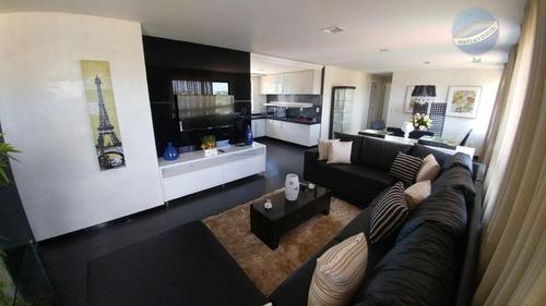 apartamento com vista para o mar de ponta negra, com hidromassagem no suíte master - ap0122