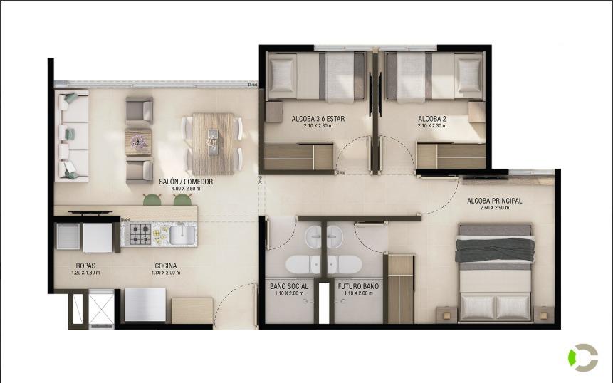 apartamento con parqueadero privado