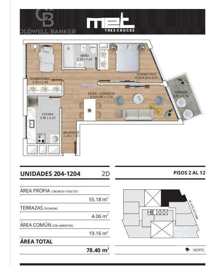 apartamento de 2 dormitorios en venta en tres cruces