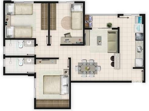 apartamento de 2 e 3/4 no yes buriti pronto pra morar