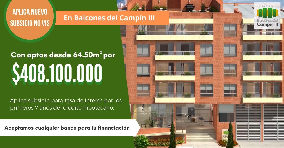 apartamento de 2 habitaciones bogotá campin subsidio no vis