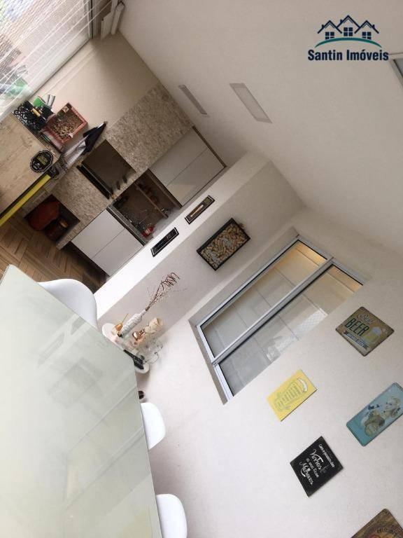 apartamento de 91 ²  com 3 dormitórios(01 suíte )varanda gourmet,02 vagas ,mobiliado à venda, 91 m² por r$ 625.000 - vila valparaíso - santo andré/sp - ap1341