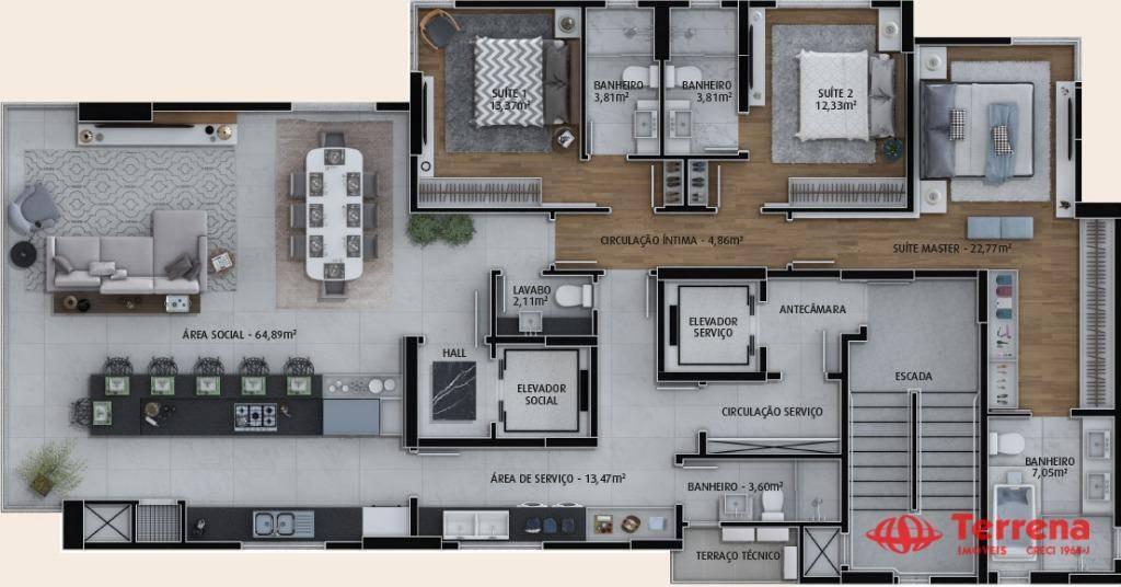 apartamento de alto padrão com 3 suítes à venda por r$ 1.500.000 - victor konder - blumenau/sc - ap0306