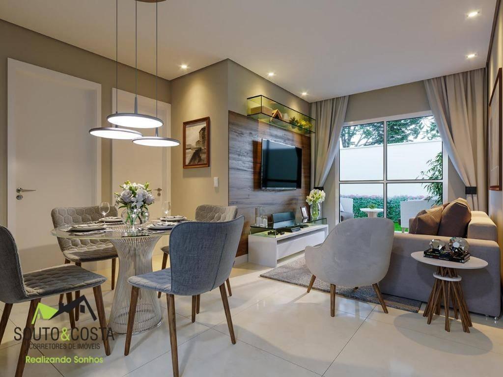 apartamento duplex com 2 dormitórios à venda, 54 m² por r$ 130.000 - camurupim - caucaia/ce - ad0002