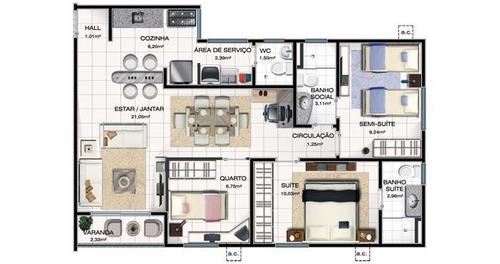 apartamento em calhau, são luís/ma de 72m² 3 quartos à venda por r$ 278.000,00 - ap210308
