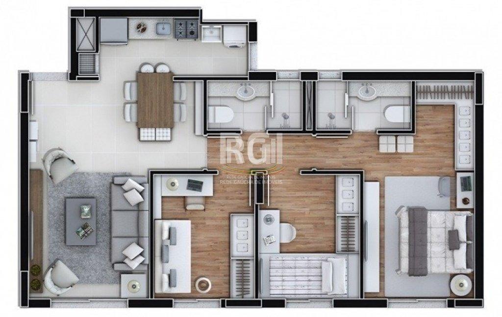 apartamento em marechal rondon com 3 dormitórios - vz5200