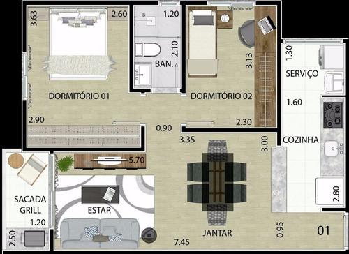 apartamento em mauá - minha casa minha vida - 54 m²