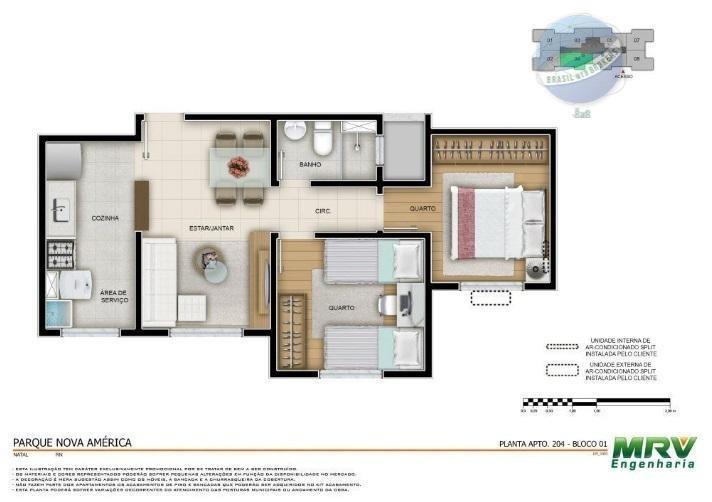 apartamento em natal com 2 quartos, pelo programa minha casa minha vida - ap0075