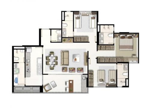 apartamento em plano diretor sul, palmas/to de 109m² 3 quartos à venda por r$ 630.000,00 - ap95536