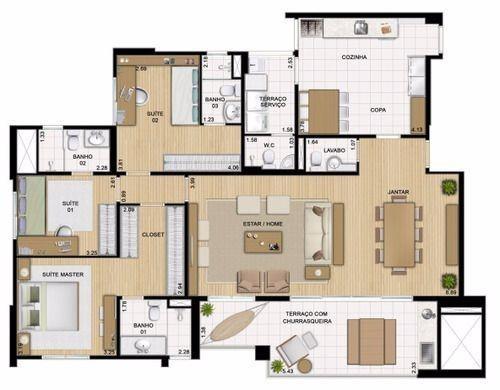apartamento em são caetano do sul com 3 suites cond. clube - 1286