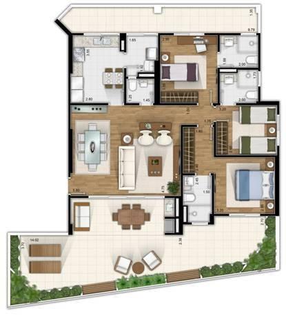 apartamento em são paulo - 121.0 m2 - código: 2391 - 2391