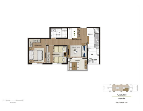 apartamento em são paulo - 57.0 m2 - código: 2551 - 2551