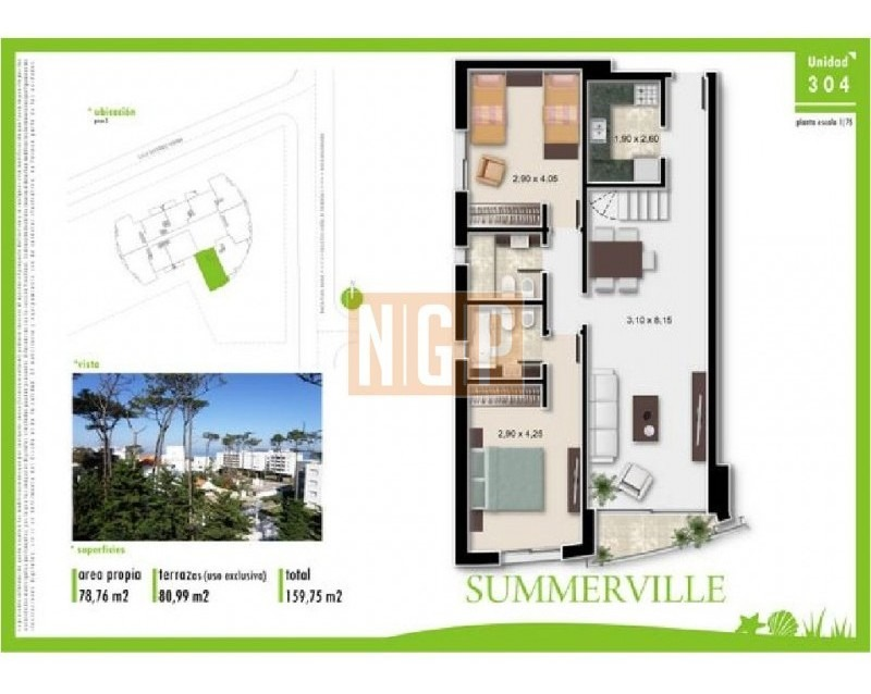 apartamento en brava, 3 dormitorios  -ref:7177
