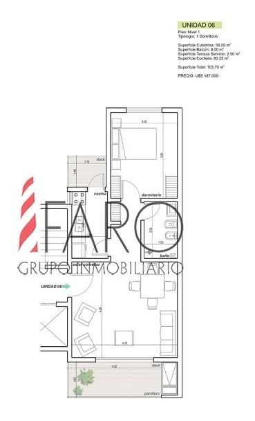 apartamento en construcción en la mansa 1 dormitorio con parrillero-ref:36841