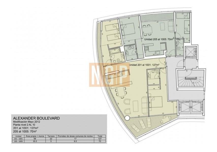 apartamento en mansa, 3 dormitorios  -ref:14584