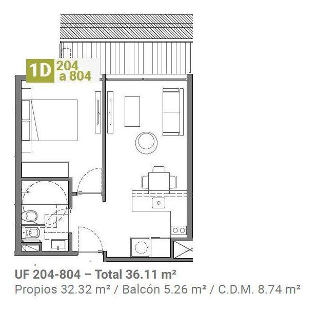apartamento en venta de 1 dormitorio en aguada