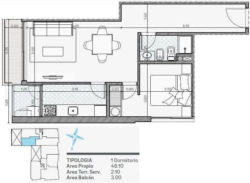 apartamento en venta de 1 dormitorio en barrio sur