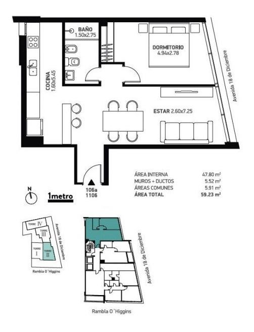 apartamento en venta de 1 dormitorio en malvin
