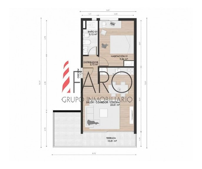 apartamento en venta en maldonado a estrenar 1 dormitorio con terraza-ref:37269