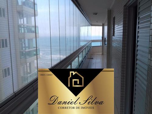 apartamento frente para o mar 3 dormitórios 130 mil de entra