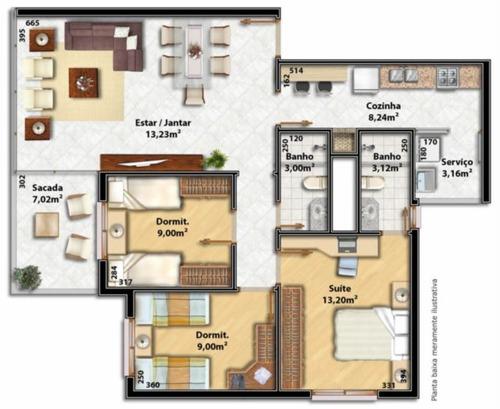 apartamento - jardim itu sabara - ref: 1758 - v-1758