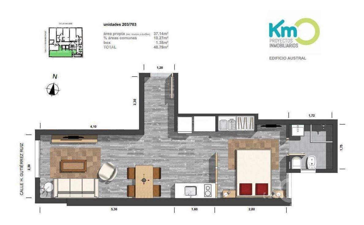 apartamento monoambiente en venta en centro