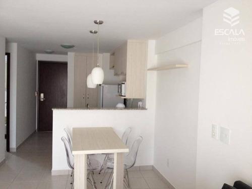 apartamento no meireles, venda / locação, 2 quartos, mobiliado, com internet / tv a cabo - ap1010