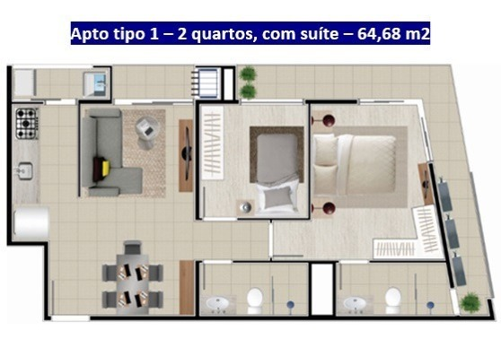 apartamento no saguaçu | 01 suíte + 01 | 02 vagas | 65 m2 privativos - sa00440 - 33303716