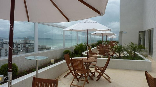 apartamento novo de 1 dormitório com varanda mobiliável com vista panorâmica para o mar. praia grande - ap0412