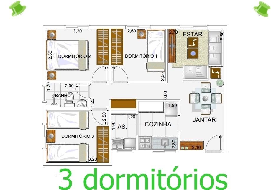 apartamento novo no centro de cotia com 3 dorms - ref 57391