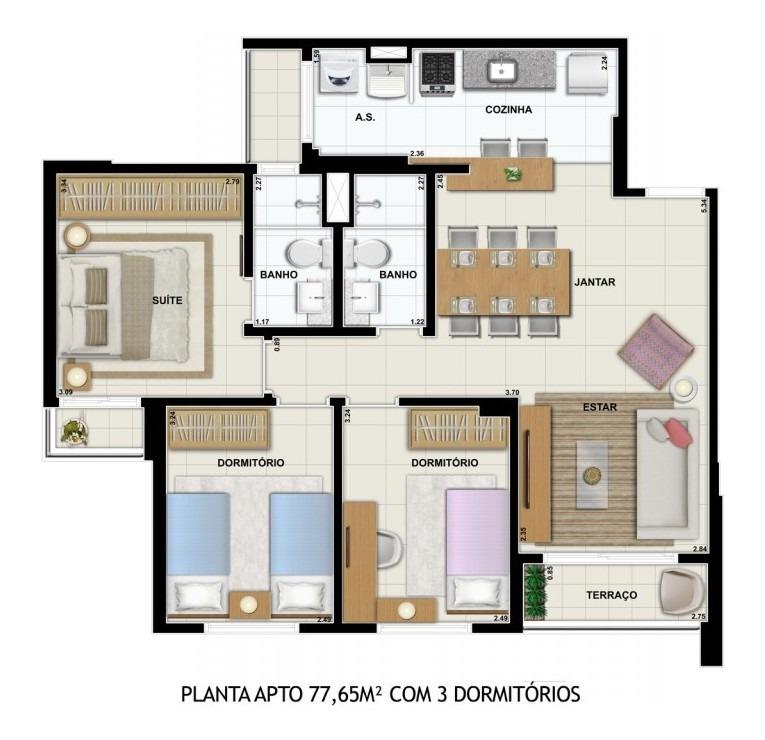 apartamento novo no condomínio akadia em são josé do rio preto para venda - apa3345