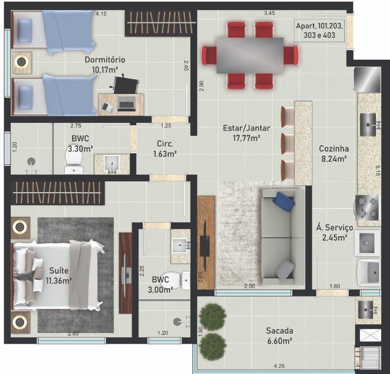 apartamento novo pronto para morar com 2 dormitórios à venda, 68 m² a partir de r$ 209.000,00 - serraria - são josé/sc - ap4260