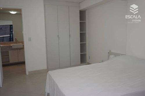 apartamento para locação, 1 quarto, mobiliado, beira mar, com internet / tv a cabo - ap0473