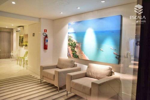 apartamento para locação, 1 quarto, mobiliado, meireles, vista mar, com internet / tv a cabo - ap1099