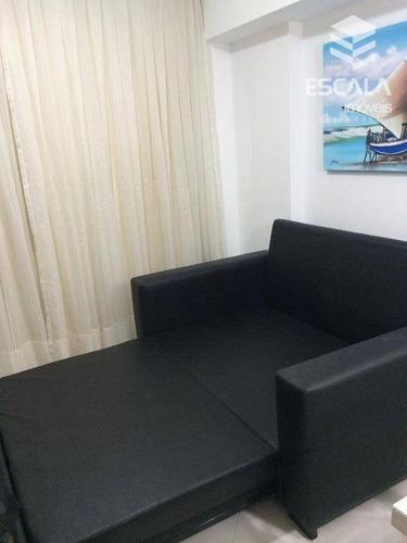 apartamento para locação, mobiliado, beira mar, com internet / tv a cabo - ap1106